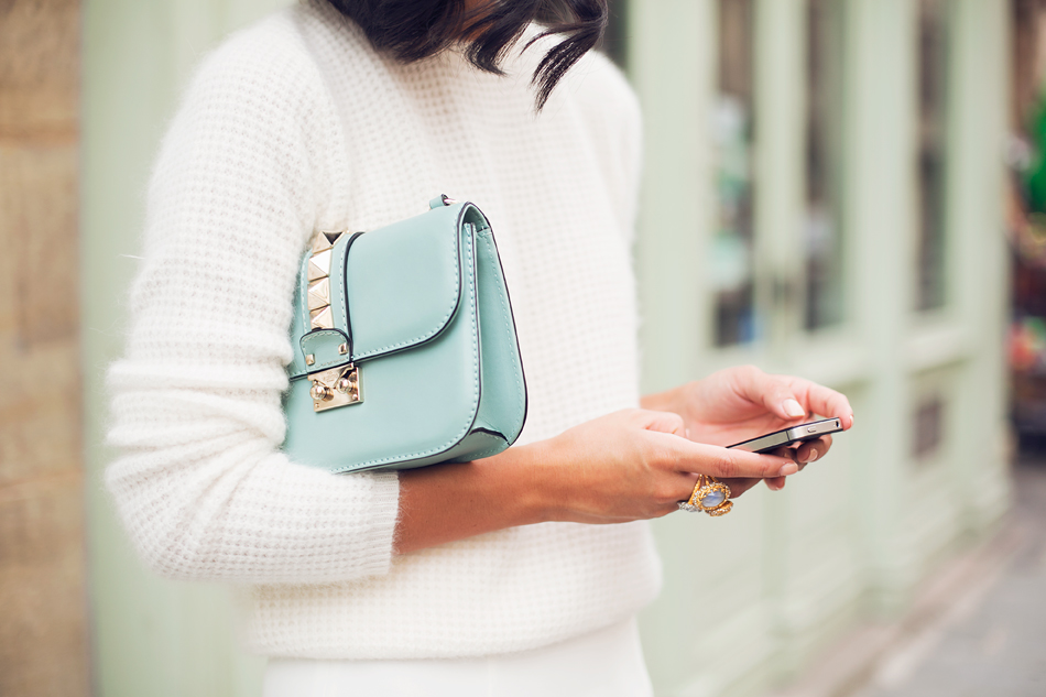 Garypeppergirl - White fluffy knit, Valentino bag and a pastel ring