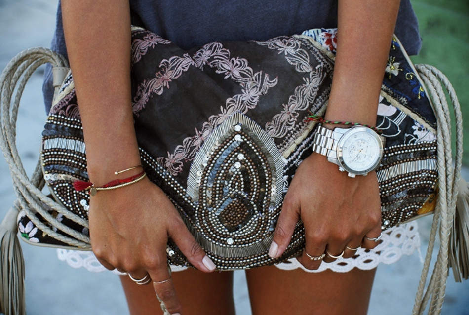 Jules - Boho clutch with white lacey shorts, scaled