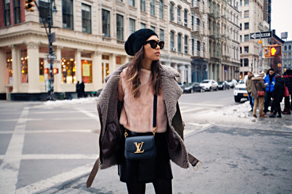 Rumi Neely - Peach, furry top and that LV bag, unsharp, scaled